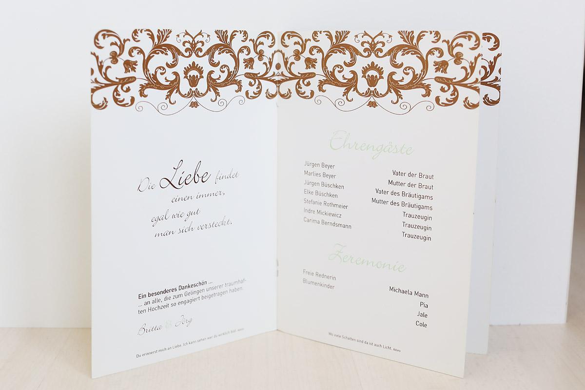 Einladungskarten Heft heiraten im Schloss Eicherhof