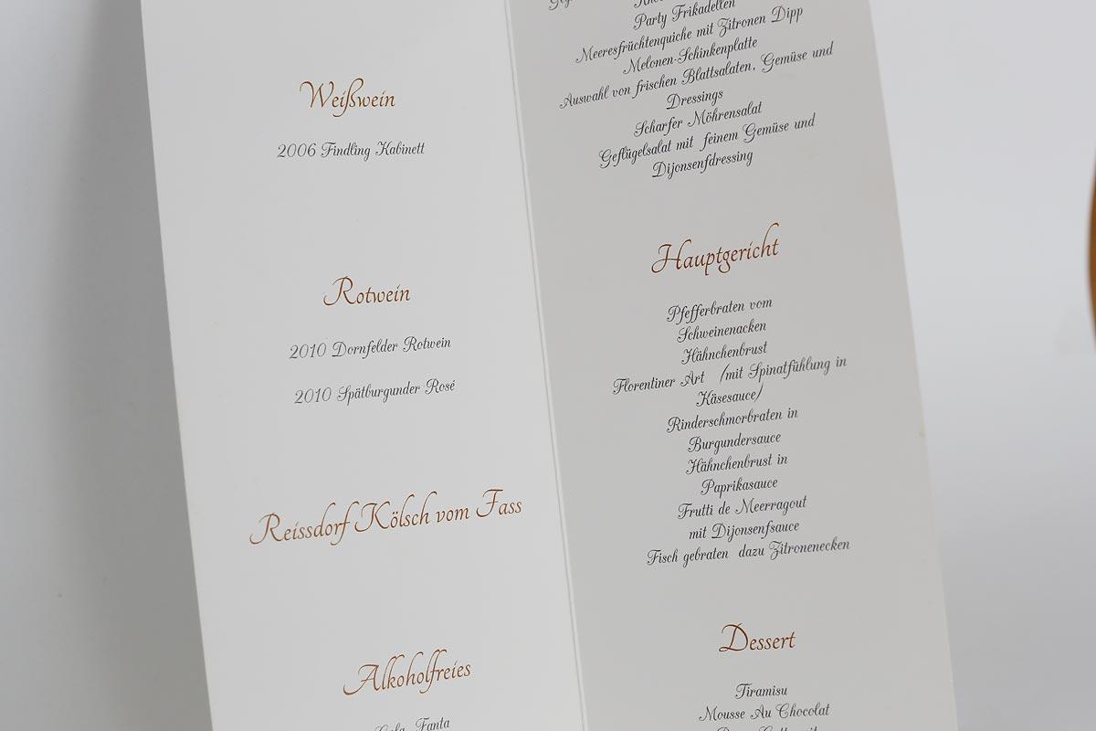 Menü Karte für Hochzeit in Düsseldorf