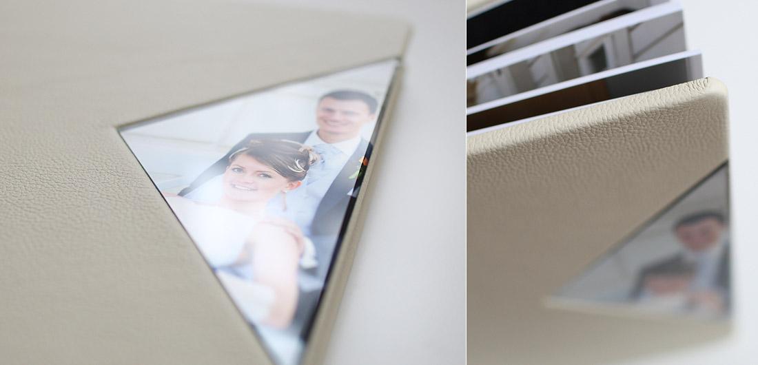 Hochzeitsalbum Leder Elfenbeinfarbe mit Plexiglas
